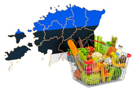 Purchasing power and market basket in Estonia concept. Shopping basket with Estonian map, 3D rendering isolated on white background Reklamní fotografie