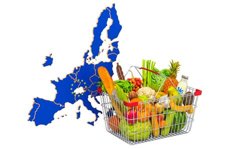 Purchasing power and market basket in European Union the concept. Shopping basket with the EU map, 3D rendering isolated on white background Stock Photo