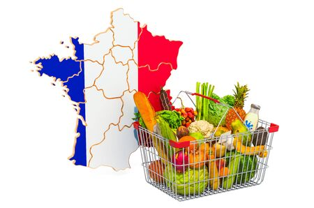 Purchasing power and market basket in France concept. Shopping basket with French map, 3D rendering isolated on white background Reklamní fotografie