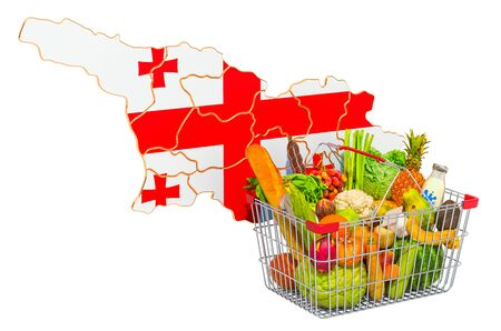 Purchasing power and market basket in Georgia concept. Shopping basket with Georgian map, 3D rendering isolated on white background