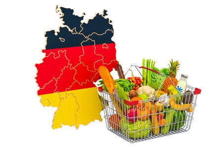 Purchasing power and market basket in Germany concept. Shopping basket with German map, 3D rendering isolated on white background