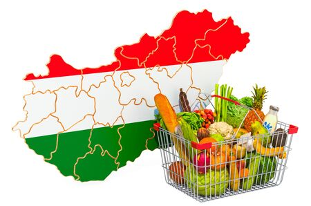 Purchasing power and market basket in Hungary concept. Shopping basket with Hungarian map, 3D rendering isolated on white background Stock Photo