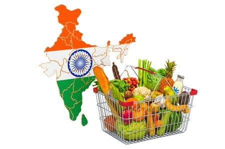 Purchasing power and market basket in India concept. Shopping basket with Indian map, 3D rendering isolated on white background