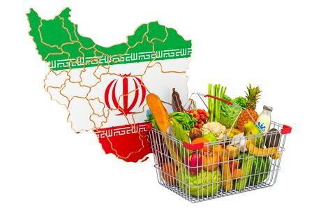 Purchasing power and market basket in Iran concept. Shopping basket with Iranian map, 3D rendering isolated on white background