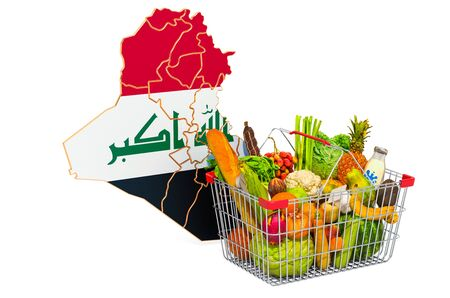 Purchasing power and market basket in Iraq concept. Shopping basket with Iraqi map, 3D rendering isolated on white background