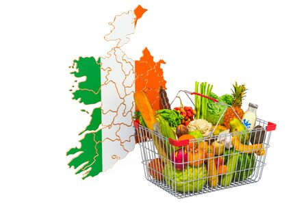 Purchasing power and market basket in Ireland concept. Shopping basket with Irish map, 3D rendering isolated on white background Stock Photo