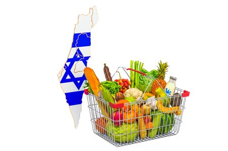 Purchasing power and market basket in Israel concept. Shopping basket with Israeli map, 3D rendering isolated on white background