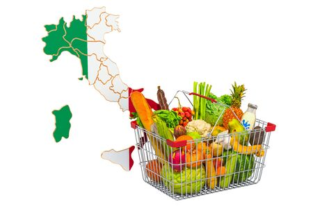 Purchasing power and market basket in Italy concept. Shopping basket with Italian map, 3D rendering isolated on white background