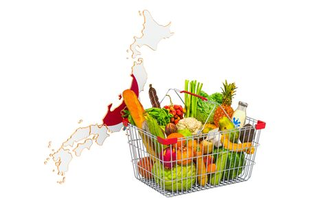 Purchasing power and market basket in Japan concept. Shopping basket with Japanese map, 3D rendering isolated on white background