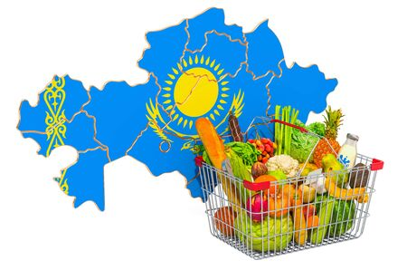 Purchasing power and market basket in Kazakhstan concept. Shopping basket with Kazakh map, 3D rendering isolated on white background