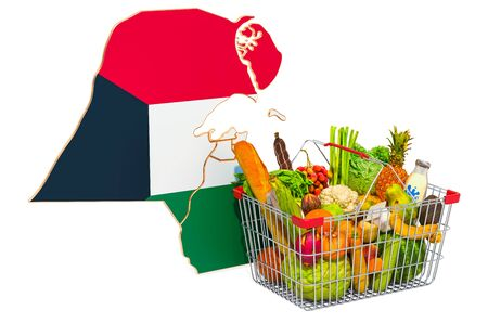 Purchasing power and market basket in Kuwait concept. Shopping basket with Kuwait map, 3D rendering isolated on white background