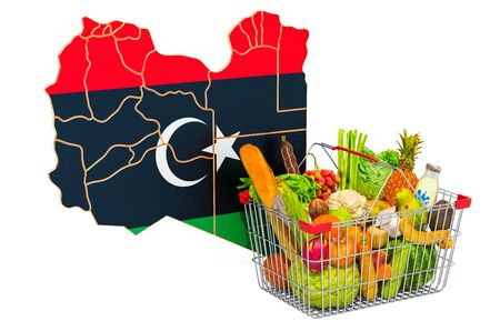 Purchasing power and market basket in Libya concept. Shopping basket with Libyan map, 3D rendering isolated on white background Reklamní fotografie