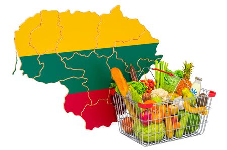 Purchasing power and market basket in Lithuania concept. Shopping basket with Lithuanian map, 3D rendering isolated on white background