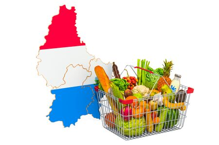 Purchasing power and market basket in Luxembourg concept. Shopping basket with Luxembourgish map, 3D rendering isolated on white background
