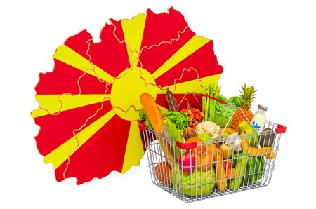 Purchasing power and market basket in Macedonia concept. Shopping basket with Macedonian map, 3D rendering isolated on white background