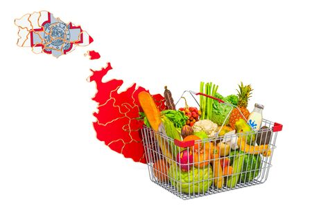 Purchasing power and market basket in Malta concept. Shopping basket with Maltese map, 3D rendering isolated on white background