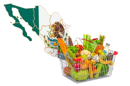 Purchasing power and market basket in Mexico concept. Shopping basket with Mexican map, 3D rendering isolated on white background