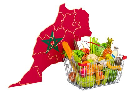 Purchasing power and market basket in Morocco concept. Shopping basket with Moroccan map, 3D rendering isolated on white background Stock Photo