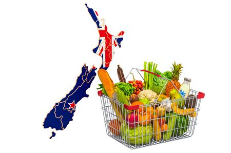 Purchasing power and market basket in New Zealand concept. Shopping basket with New Zealand map, 3D rendering isolated on white background Stock Photo