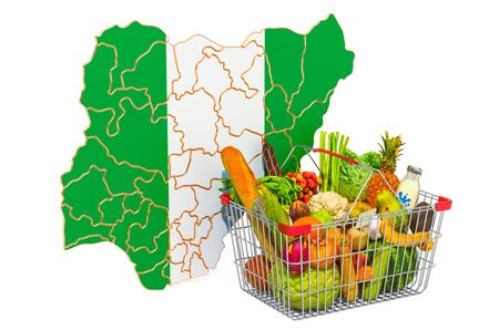 Purchasing power and market basket in Nigeria concept. Shopping basket with Nigerian map, 3D rendering isolated on white background