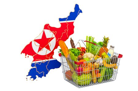 Purchasing power and market basket in North Korea concept. Shopping basket with North Korean map, 3D rendering isolated on white background Stock Photo