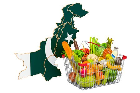 Purchasing power and market basket in Pakistan concept. Shopping basket with Pakistani map, 3D rendering isolated on white background