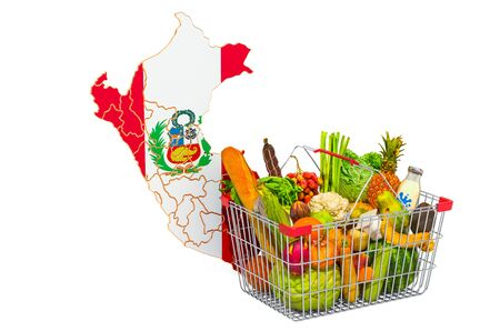 Purchasing power and market basket in Peru concept. Shopping basket with Peruvian map, 3D rendering isolated on white background