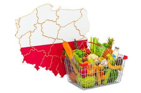 Purchasing power and market basket in Poland concept. Shopping basket with Polish map, 3D rendering isolated on white background