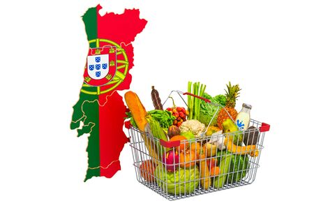 Purchasing power and market basket in Portugal concept. Shopping basket with Portuguese map, 3D rendering isolated on white background Stok Fotoğraf