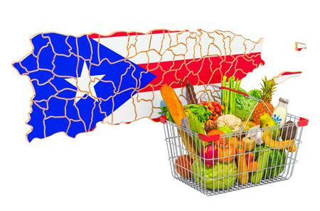 Purchasing power and market basket in Puerto Rico concept. Shopping basket with Puerto Rican map, 3D rendering isolated on white background Stock Photo