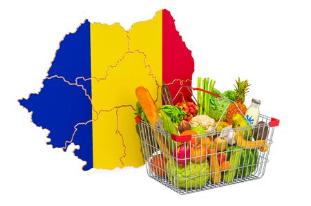 Purchasing power and market basket in Romania concept. Shopping basket with Romanian map, 3D rendering isolated on white background