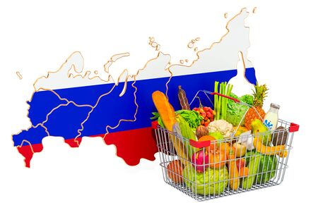 Purchasing power and market basket in Russia concept. Shopping basket with Russian Federation map, 3D rendering isolated on white background Stock Photo