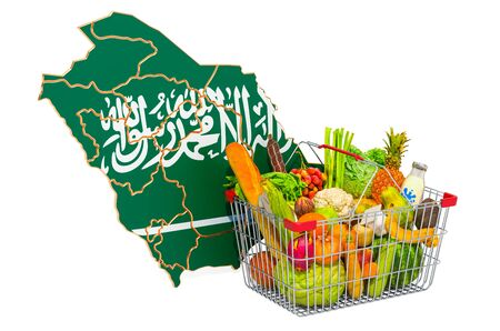 Purchasing power and market basket in Saudi Arabia concept. Shopping basket with Saudi Arabian map, 3D rendering isolated on white background