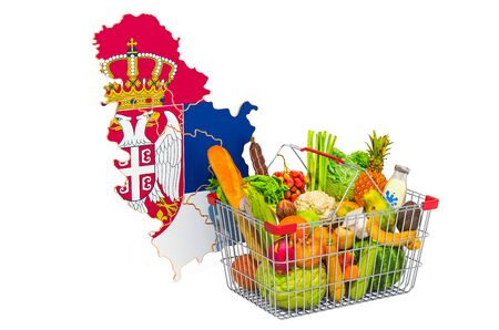 Purchasing power and market basket in Serbia concept. Shopping basket with Serbian map, 3D rendering isolated on white background Reklamní fotografie