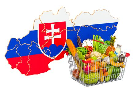 Purchasing power and market basket in Slovakia concept. Shopping basket with Slovak map, 3D rendering isolated on white background