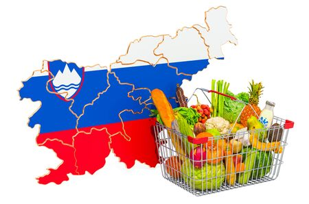 Purchasing power and market basket in Slovenia concept. Shopping basket with Slovenian map, 3D rendering isolated on white background Reklamní fotografie