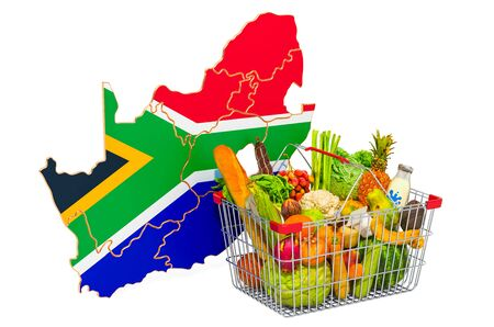 Purchasing power and market basket in South Africa concept. Shopping basket with South African map, 3D rendering isolated on white background Stock Photo