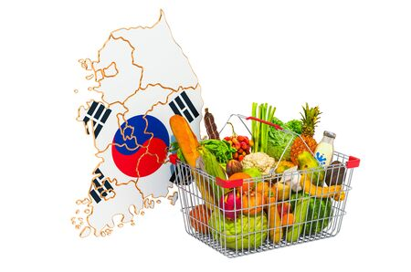 Purchasing power and market basket in South Korea concept. Shopping basket with South Korean map, 3D rendering isolated on white background Stock Photo