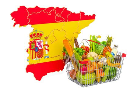 Purchasing power and market basket in Spain concept. Shopping basket with Spanish map, 3D rendering isolated on white background