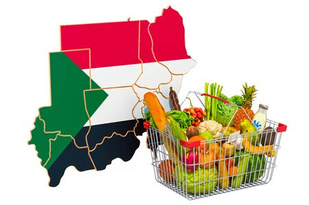 Purchasing power and market basket in Sudan concept. Shopping basket with Sudanese map, 3D rendering isolated on white background