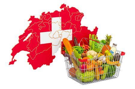 Purchasing power and market basket in Switzerland concept. Shopping basket with Swiss map, 3D rendering isolated on white background
