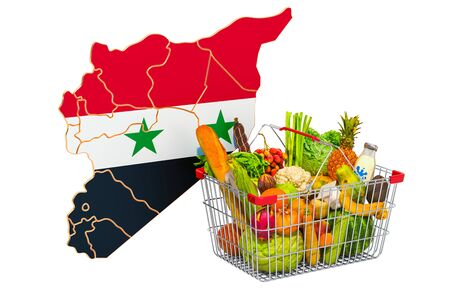 Purchasing power and market basket in Syria concept. Shopping basket with Syrian map, 3D rendering isolated on white background Stock Photo