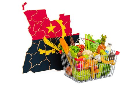 Purchasing power and market basket in Angola concept. Shopping basket with Angolan map, 3D rendering isolated on white background