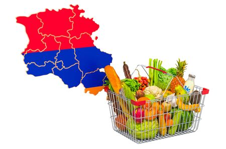 Purchasing power and market basket in Armenia concept. Shopping basket with Armenian map, 3D rendering isolated on white background