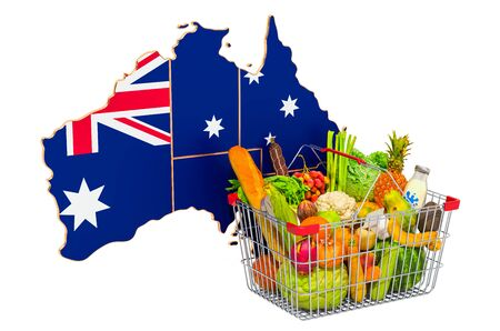 Purchasing power and market basket in Australia concept. Shopping basket with Australian map, 3D rendering isolated on white background