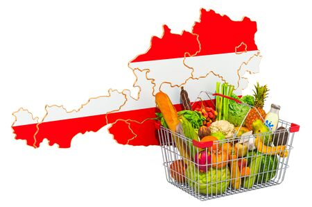 Purchasing power and market basket in Austria concept. Shopping basket with Austrian map, 3D rendering isolated on white background