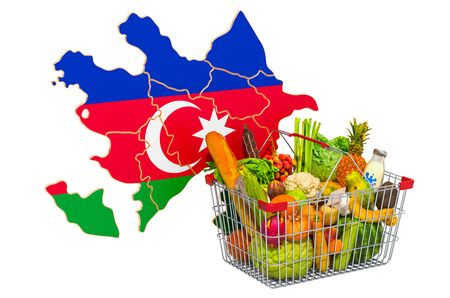 Purchasing power and market basket in Azerbaijan concept. Shopping basket with Azerbaijani map, 3D rendering isolated on white background