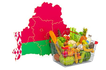 Purchasing power and market basket in Belarus concept. Shopping basket with Belorussian map, 3D rendering isolated on white background Stock Photo
