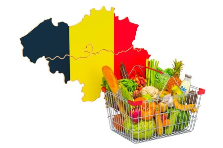 Purchasing power and market basket in Belgium concept. Shopping basket with Belgian map, 3D rendering isolated on white background Reklamní fotografie