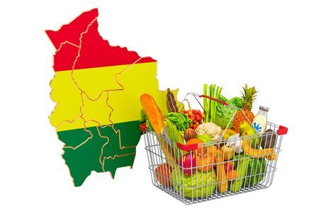 Purchasing power and market basket in Bolivia concept. Shopping basket with Bolivian map, 3D rendering isolated on white background Reklamní fotografie